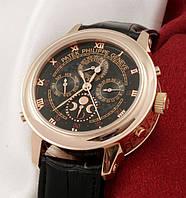 Часы мужские patek philippe sky moon, качественная реплика, кожаный ремешок, двухсторонние, дата, день недели