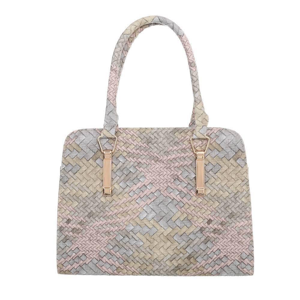 Плетеная сумка хенхелд из экокожи (Европа) Пудровый/Бежевый/Голубой