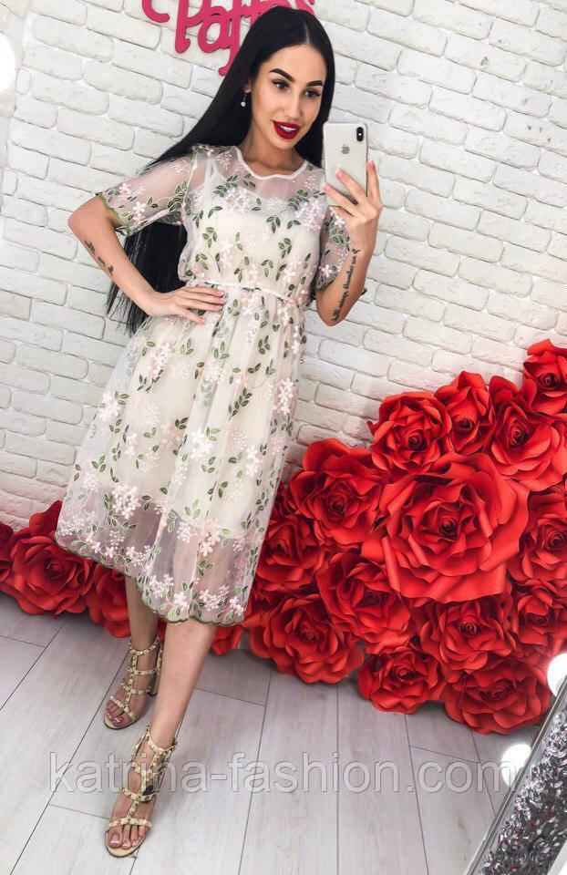 Женское платье-двойка с цветочным принтом (2 цвета)