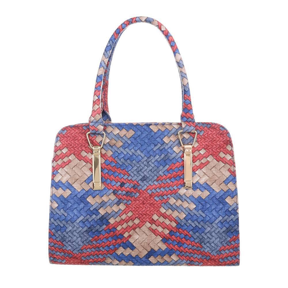Плетеная сумка хенхелд из экокожи (Европа) Красный/Синий