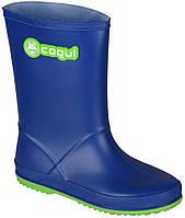 Детские резиновые сапоги Rainy, Coqui, синие с зеленым (32)