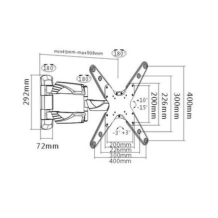 Brateck LPA39443B - поворотно-наклонное крепление для телевизора, фото 2