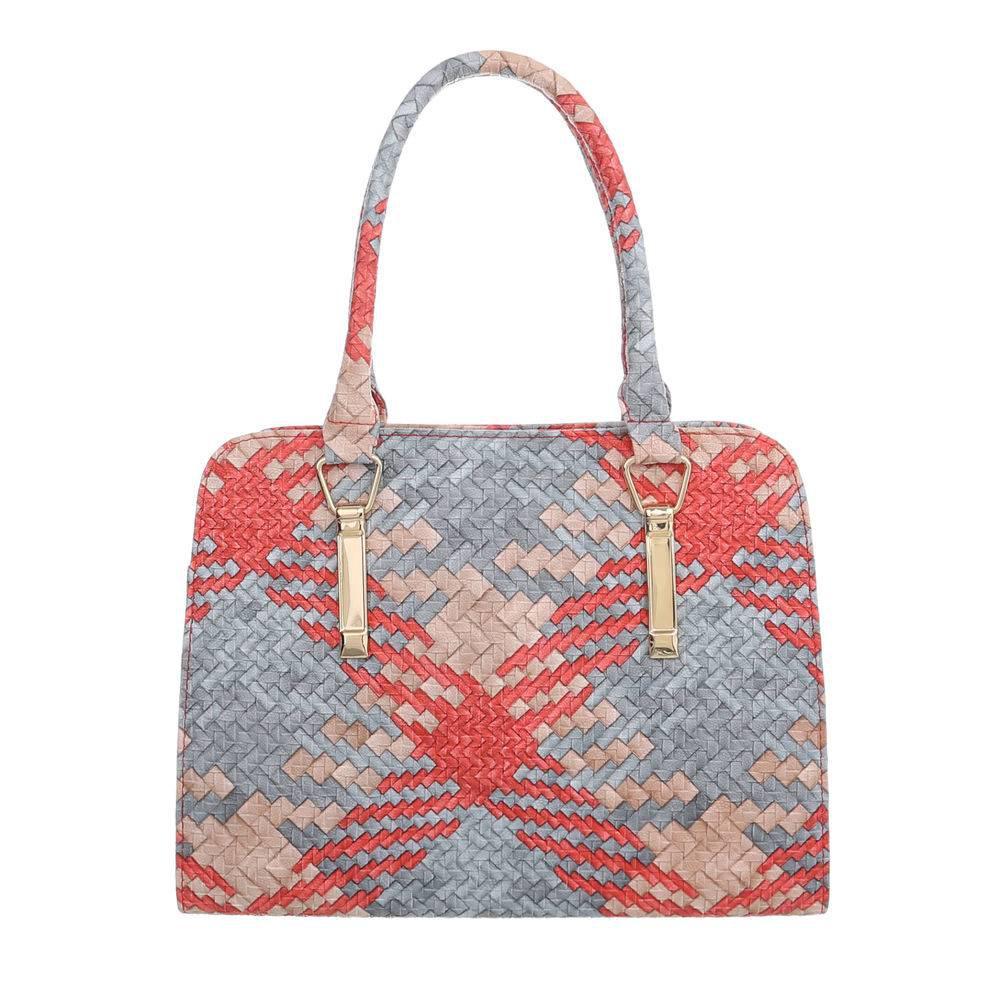 Плетеная сумка хенхелд из экокожи (Европа) Красный/Голубой/Бежевый