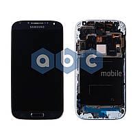 Дисплей (модуль) Samsung i9500 S4 черный с рамкой