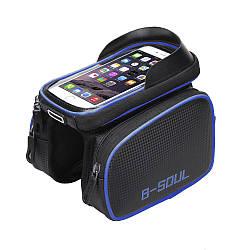 """Сумка B-Soul на раму с отделением для телефона до 5,3"""", синяя"""