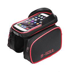 """Сумка B-Soul на раму с отделением для телефона до 5,3"""", красная"""