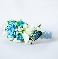 Обруч Ніжні квіти (для дівчаток) - голубий, фото 1