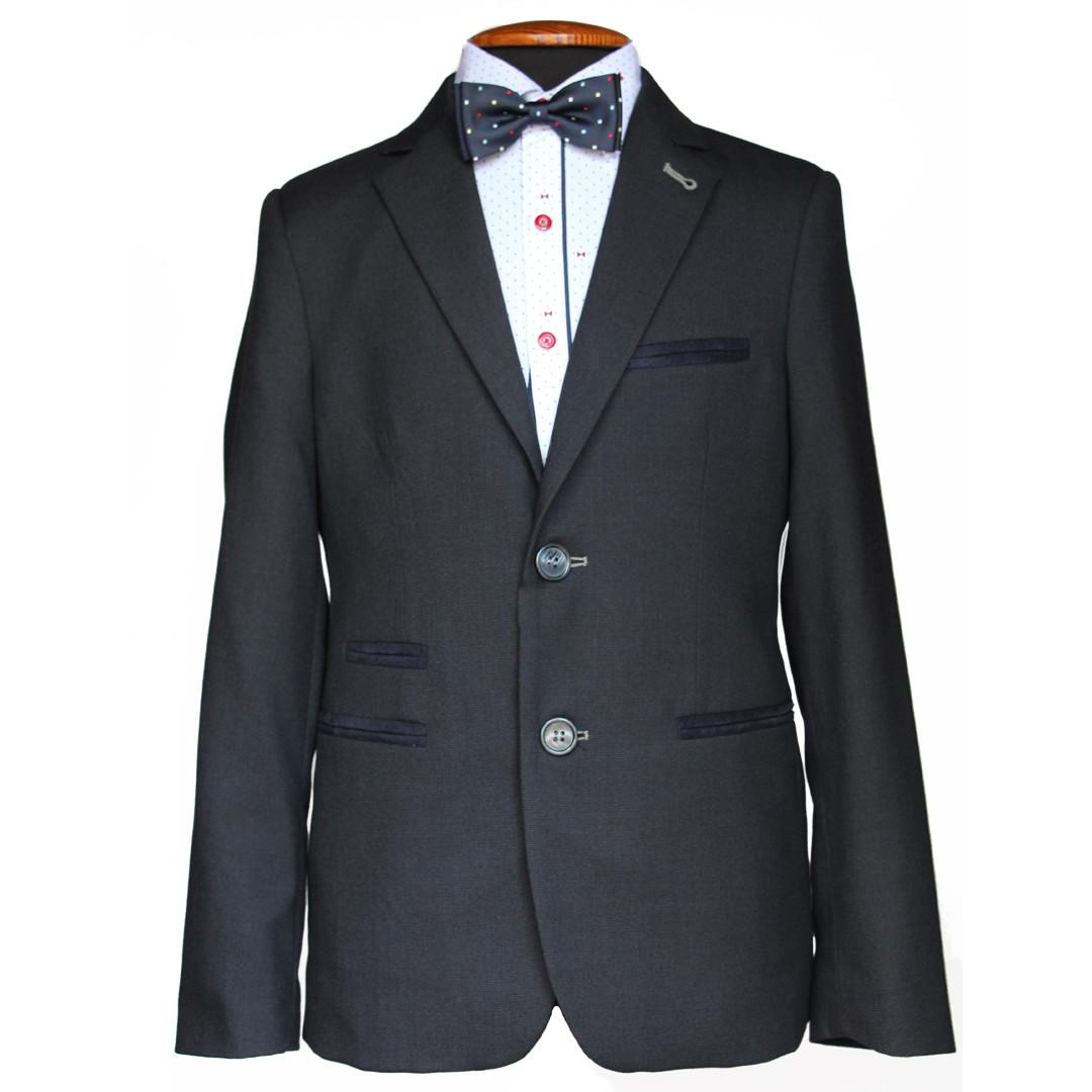 """Деловой школьный костюм для мальчика 122-128 рост """"Неаполь"""" серый с налокотниками"""