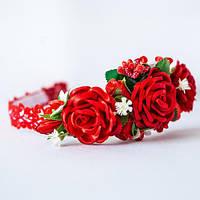 Обруч Ніжні квіти (для дівчаток) - червоний, фото 1