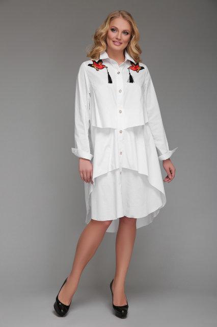 Женская платье-рубашка Троя цвет белый / размер 52-54, 56-58
