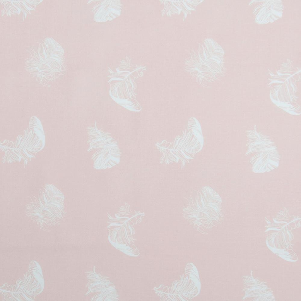 Хлопковая ткань Перышки на пудровом розовом