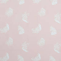 Хлопковая ткань Перышки на пудровом розовом, фото 1
