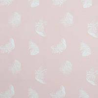 ✁ Отрез Хлопковой ткани Перышки на пудровом розовом 100х80 см