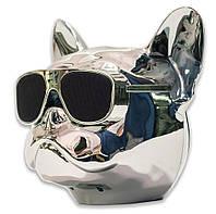 Bluetooth колонка Qitech Aerobull XL | колонка блютуз голова бульдога | акустика собака | цвет серебро, фото 1
