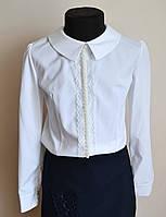 Детская школьная блуза для девочек белого цвета, фото 1