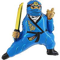 Фольгированные шары большие фигуры  фигура Ниндзя голубой 75*83 см Grabo