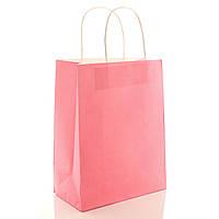 Подарочный пакет бумажный розовый 21 х 27 х 11 см