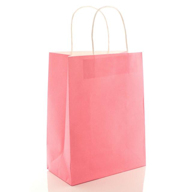 Подарочный пакет бумажный розовый 21 х 27 х 11 см однотонный вертикальный