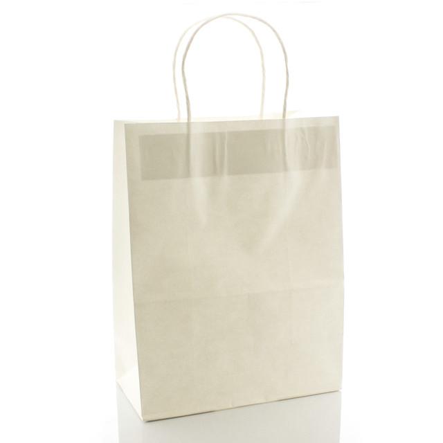 Подарочный пакет бумажный белый 21 х 27 х 11 см однотонный вертикальный