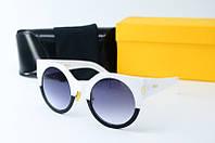 Солнцезащитные очки Fendi круглые черные с белым, фото 1
