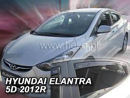 Дефлекторы окон (ветровики)  HYUNDAI ELANTRA - 5d 2010-2015 (HEKO)