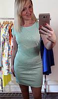 Летнее трикотажное короткое платье цвета мяты