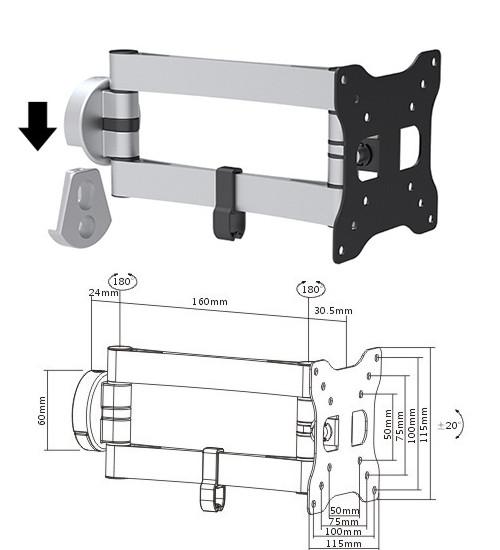 Brateck LDA15112- поворотно-наклонное крепление для телевизора