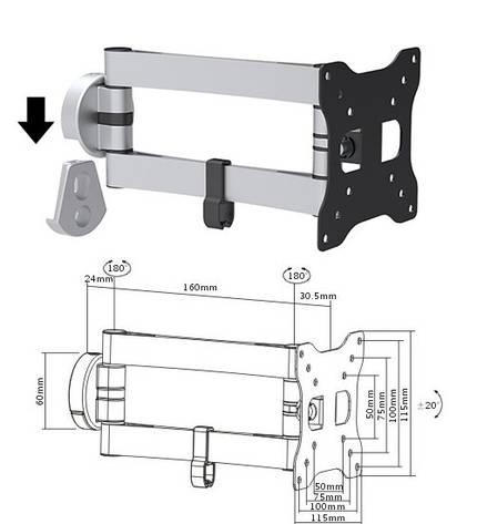 Brateck LDA15112- поворотно-наклонное крепление для телевизора, фото 2