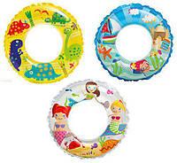 Круг надувной 61см 3цв.(59242), Детский надувной круг для плавания Intex, Плавательный круг для ребенка
