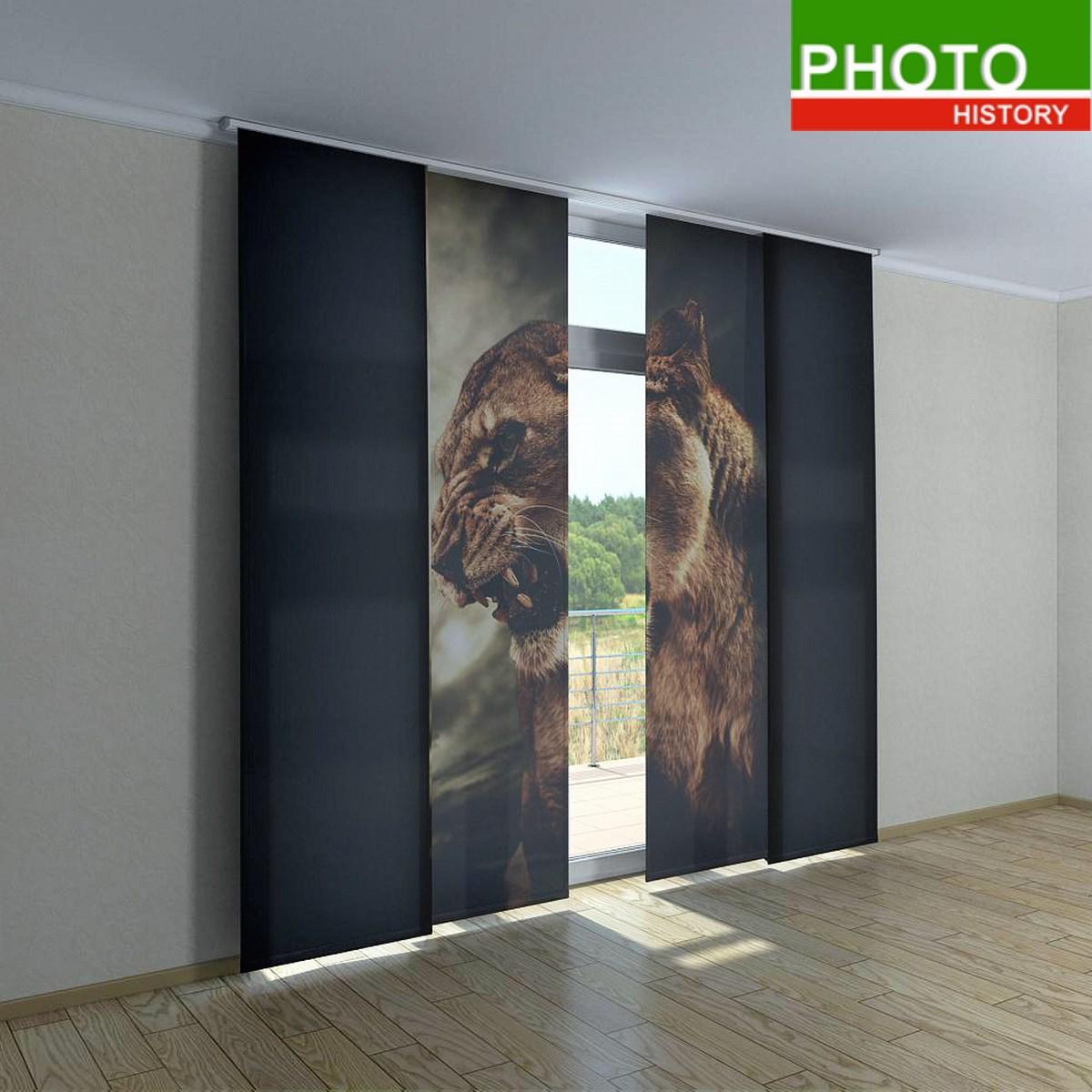 Японские фото шторы львица