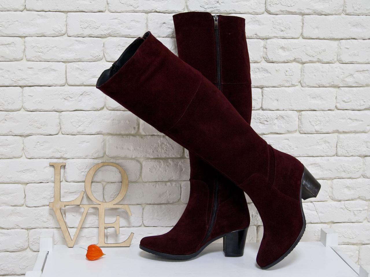 cc291e6ab Высокие женские Сапоги из натуральной замши цвета марсала, на устойчивом  среднем каблуке - Интернет-