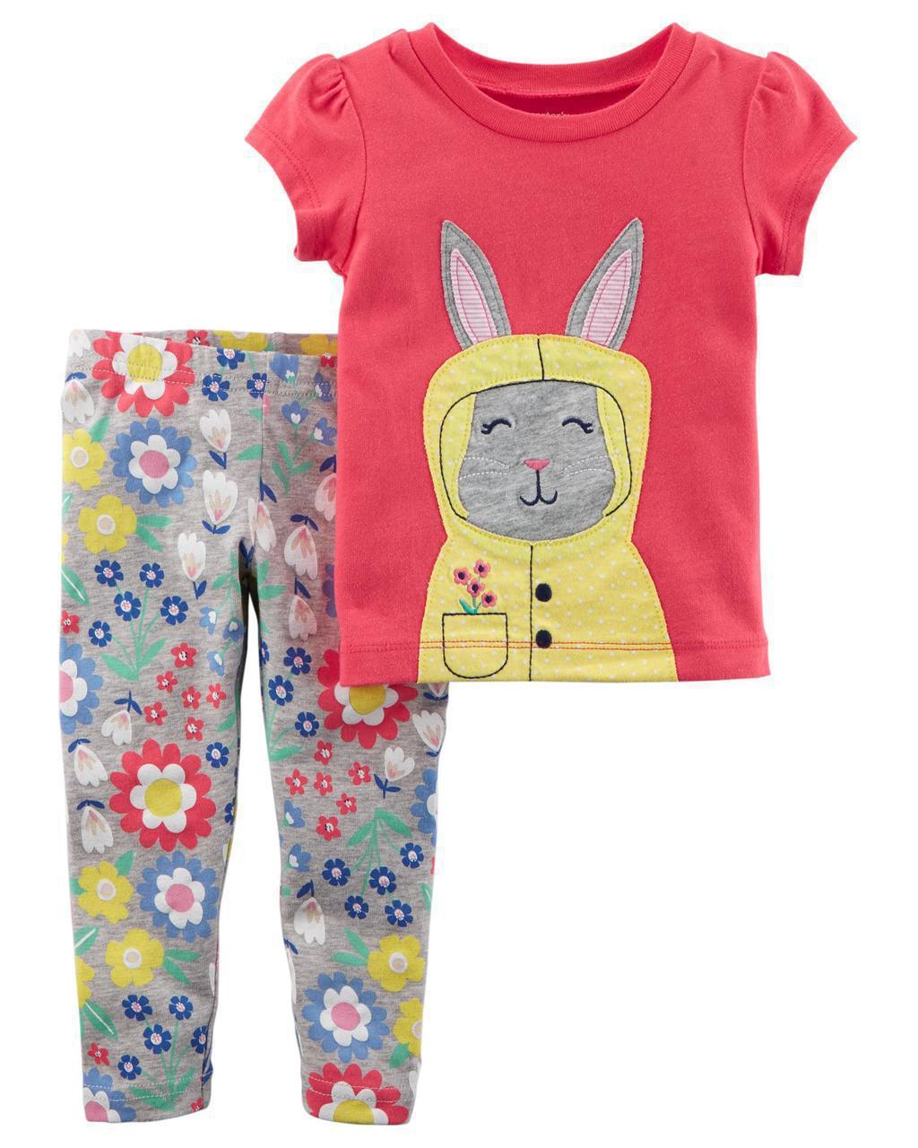 Леггинсы + футболка Carters для девочки 3 мес 55-61 см. Комплект двойка