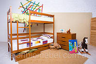 Кровать двухярусная деревянная из бука Дисней с ящиками(орех,венге)