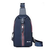 Сумка рюкзак через плечо синяя