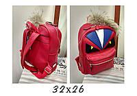 Рюкзак брендовый Fendi Фенди с глазами красный