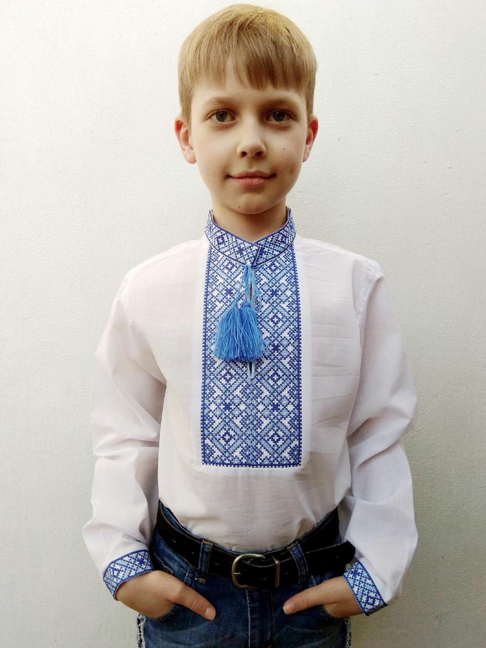 Дитяча вишиванка для хлопчика Данило вишивка синьо-блакитна