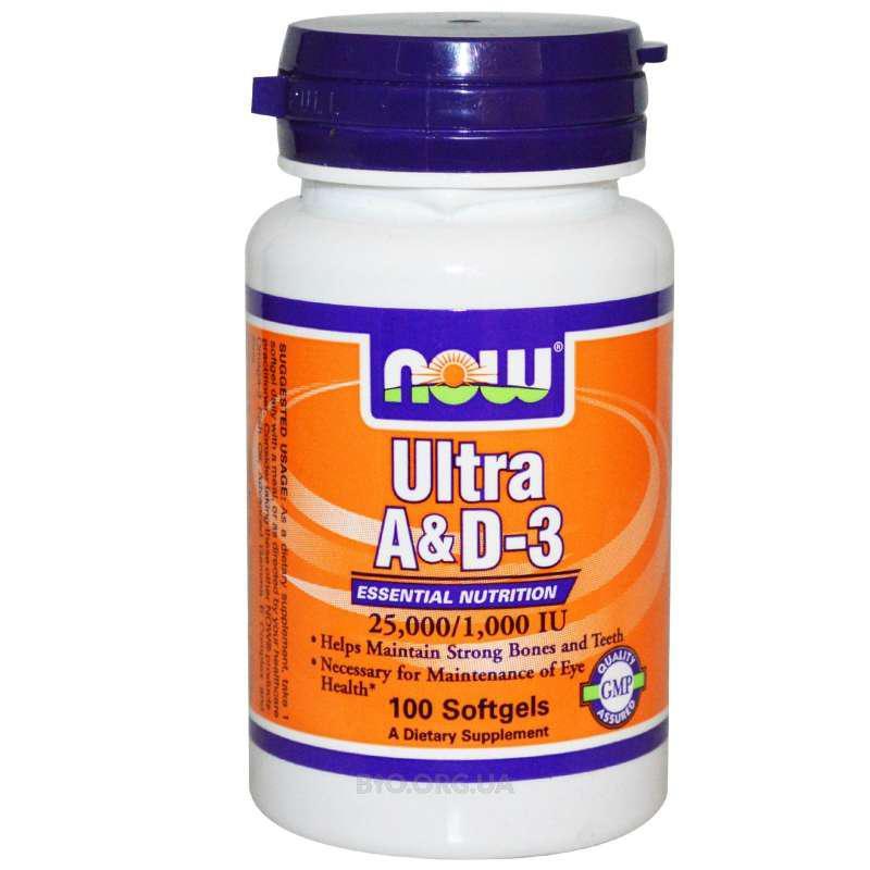 Витамины NOW Foods Ultra A&D-3 25000/1000IU 100 softgels