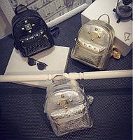 Сумка-рюкзак женский повседневный городской кожа PU.В наличии Черный,серебро,золото.