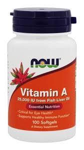 Витамины NOW Foods Vitamin A 25000IU 100 softgels