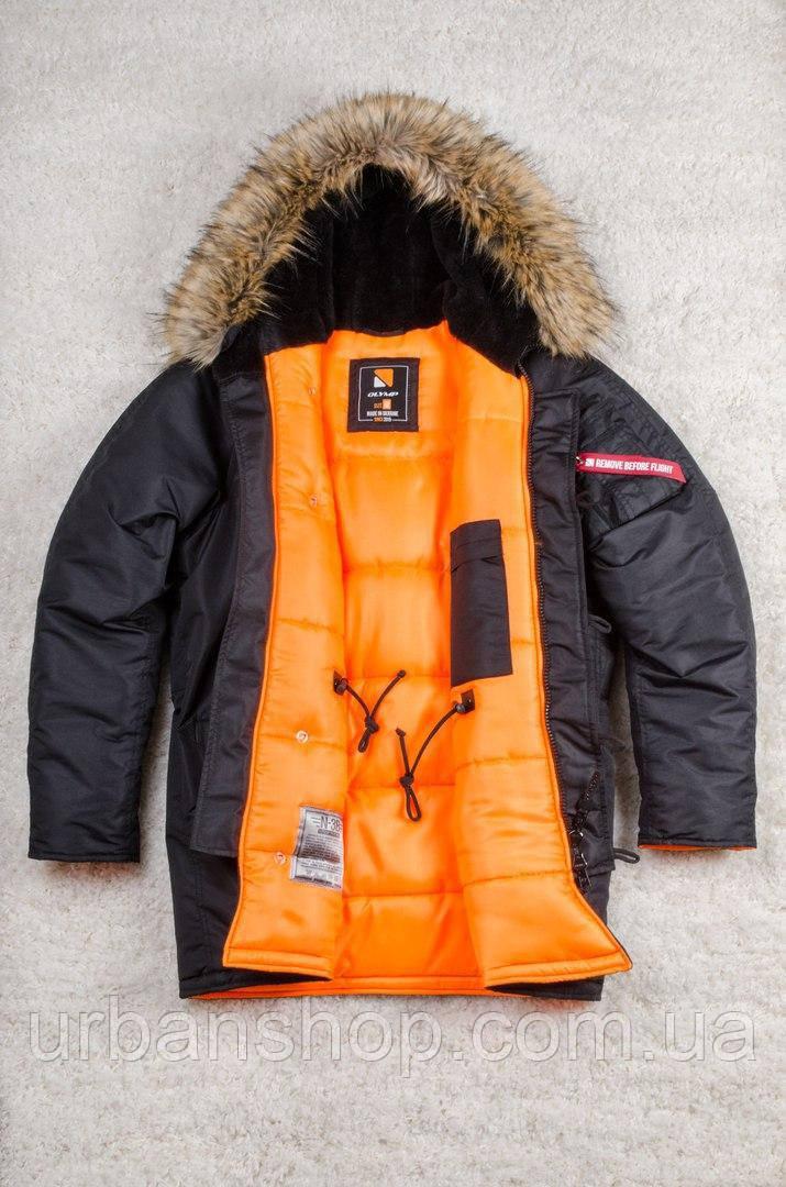 Чоловіча зимова парка Olymp - Аляска N-3B, Slim Fit, Color: Black, Чоловіча аляска