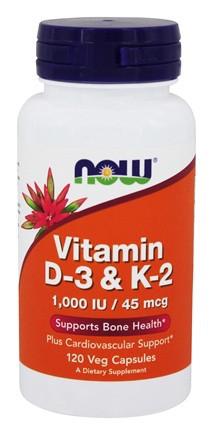Витамины NOW Foods Vitamin D-3 & K-2 1000IU/45mcg 120 caps