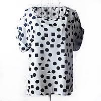 "Блуза с коротким рукавом ""геометрические фигуры на белом "" Liva Girl"