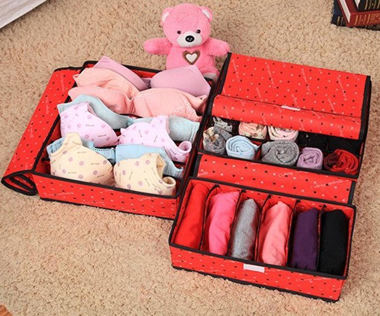 Набор из трех органайзеров для хранения нижнего белья, носков , платков красный