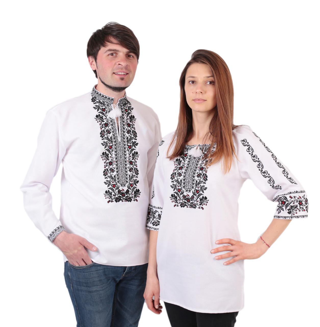 Пара вишиванок білого кольору з чорним орнаментом з машинною вишивкою