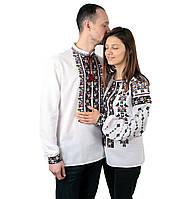 Пара вишиванок білого кольору з кольоровим орнаментом з машинною вишивкою, фото 1
