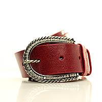 Ремень в коробке G4050W1-B красный (Emilia) Мягкая итальянская кожа с блеском Пряжка Италия