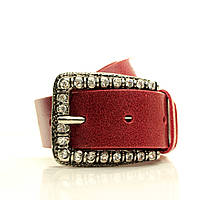 Ремень в коробке G4050W3-B красный (Regina) Мягкая итальянская кожа с блеском Пряжка Италия