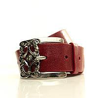 Ремень в коробке G4050W4-B красный (Fiorenza) Мягкая итальянская кожа с блеском Пряжка Италия