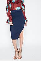 Брендовая юбка карандаш темно-синяя базовая с красивым вырезом