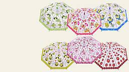 Зонт матовая клеенка с принтом, диаметр раскрытия - 85 см, прозрачная клеенка
